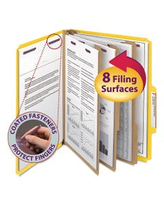 Smead® Eight-Section Pressboard Top Tab Classification Folders With Safeshield Fasteners, 3 Dividers, Letter Size, Yellow, 10/Box