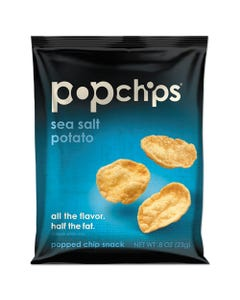popchips® Potato Chips, Sea Salt Flavor, 0.8 Oz Bag, 24/Carton