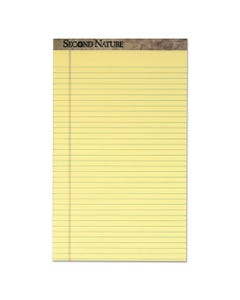 TOPS™ Second Nature Recycled Pads, Wide/Legal Rule, 8.5 X 14, Canary, 50 Sheets, Dozen