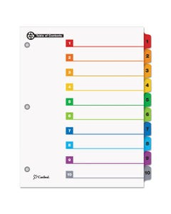 Cardinal® Onestep 100% Recycled Printable Table Of Contents Dividers, 10-Tab, 1 To 10, 11 X 8.5, White, 1 Set