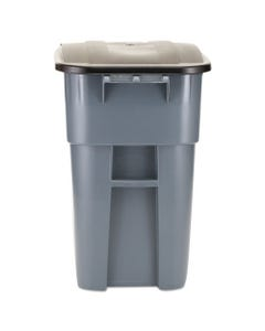 Brute Rollout Container, Square, Plastic, 50gal, Gray