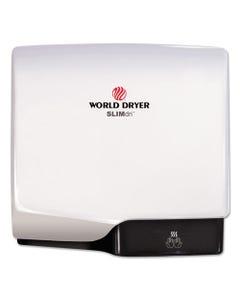 WORLD DRYER® Slimdri Hand Dryer, Aluminum, White