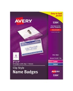 Avery® Clip-Style Name Badge Holder With Laser/Inkjet Insert, Top Load, 4 X 3, White, 40/Box