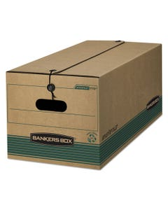 "Bankers Box® Stor/File Medium-Duty Strength Storage Boxes, Letter Files, 12.25"" X 24"" X 10.75"", Kraft/Green, 12/Carton"