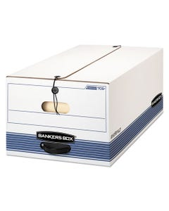 """Bankers Box® Stor/File Medium-Duty Strength Storage Boxes, Legal Files, 15.25"""" X 19.75"""" X 10.75"""", White/Blue, 4/Carton"""