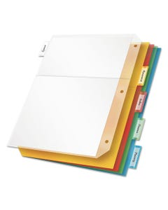 Cardinal® Poly Ring Binder Pockets, 11 X 8 1/2, Letter, Assorted Colors, 5/Pack