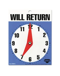 """COSCO Will Return Later Sign, 5"""" X 6"""", Blue"""