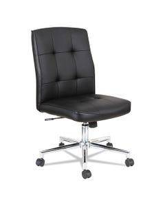 Alera® Slimline Swivel/Tilt Task Chair, Supports Up To 275 Lbs., Black Seat/Black Back, Chrome Base