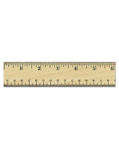 """Universal® Flat Wood Ruler W/Double Metal Edge, 12"""", Clear Lacquer Finish"""