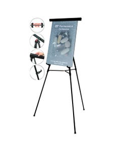 """MasterVision® Telescoping Tripod Display Easel, Adjusts 35"""" To 64"""" High, Metal, Black"""
