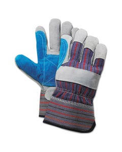 Boardwalk® Cow Split Leather Double Palm Gloves, Gray/Blue, Large, 1 Dozen