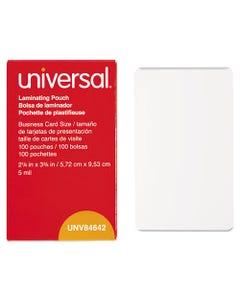 "Universal® Laminating Pouches, 5 Mil, 3.75"" X 2.25"", Matte Clear, 100/Box"