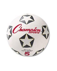 Champion Sports Rubber Sports Ball, For Soccer, No. 5, White/Black