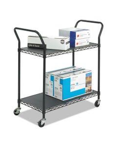 Safco® Wire Utility Cart, Two-Shelf, 43.75W X 19.25D X 40.5H, Black