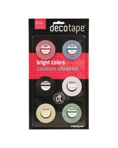 "Chartpak® Deco Bright Decorative Tape, 0.13"" X 27 Ft, Assorted Colors, 6/Box"