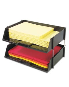 """deflecto® Industrial Tray Side-Load Stacking Tray Set, 2 Sections, Letter To Legal Size Files, 16.38"""" X 11.13"""" X 3.5"""", Black, 2/Pack"""