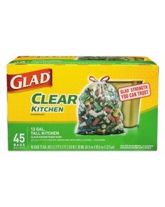 "Glad® Recycling Tall Kitchen Drawstring Trash Bags, 13 Gal, 0.9 Mil, 24"" X 27.38"", Clear, 45/Box"
