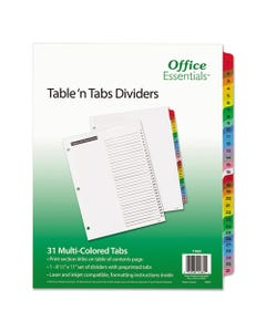 Office Essentials™ Table 'N Tabs Dividers, 31-Tab, 1 To 31, 11 X 8.5, White, 1 Set