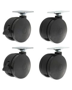 Alera® Casters For Height-Adjustable Table Bases, Black, 4/Set
