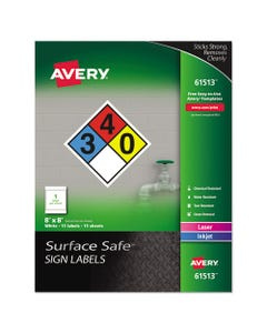 Avery® Surface Safe Removable Label Safety Signs, Inkjet/Laser Printers, 8 X 8, White, 15/Pack