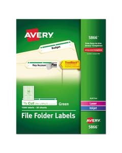 Avery® Permanent Trueblock File Folder Labels With Sure Feed Technology, 0.66 X 3.44, White, 30/Sheet, 50 Sheets/Box