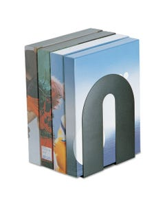 """Officemate Heavy Duty Bookends, Nonskid, 8"""" X 8"""" X 10"""", Steel, Black"""