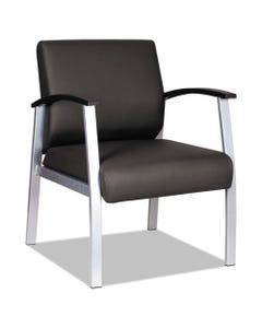 Alera® Alera Metalounge Series Mid-Back Guest Chair, 24.60'' X 26.96'' X 33.46'', Black Seat/Black Back, Silver Base