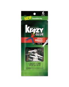 Krazy Glue® All-Purpose Super Glue Single-Use Tubes, 0.02 Oz, Dries Clear, 6/Pack