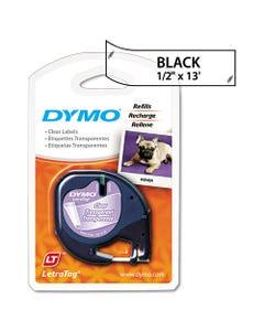"""DYMO® Letratag Plastic Label Tape Cassette, 0.5"""" X 13 Ft, Clear"""