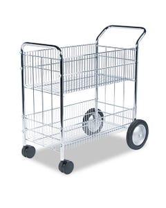 Fellowes® Wire Mail Cart, 21.5W X 37.5D X 39.25H, Chrome