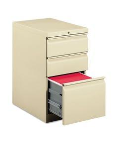 HON® Efficiencies Mobile Box/Box/File Pedestal, 15W X 22.88D X 28H, Putty