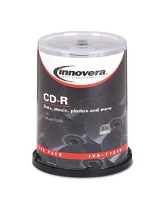 Innovera® Cd-R Discs, 700Mb/80Min, 52X, Spindle, Silver, 100/Pack