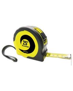 "Boardwalk® Easy Grip Tape Measure, 25 Ft, Plastic Case, Black And Yellow, 1/16"" Graduations"