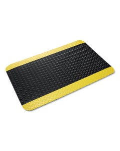 Crown Industrial Deck Plate Anti-Fatigue Mat, Vinyl, 36 X 60, Black/Yellow Border