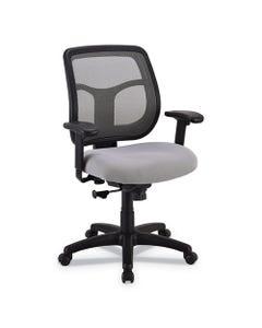 Eurotech Apollo Mid-Back Mesh Chair, Silver Seat/Silver Back, Silver Base