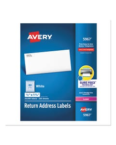 Avery® White Address Labels W/ Sure Feed Technology For Laser Printers, Laser Printers, 0.5 X 1.75, White, 80/Sheet, 250 Sheets/Box