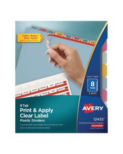 Avery® Print And Apply Index Maker Clear Label Plastic Dividers With Printable Label Strip, 8-Tab, 11 X 8.5, Translucent, 5 Sets