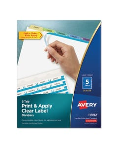 Avery® Print And Apply Index Maker Clear Label Dividers, 5 Color Tabs, Letter, 25 Sets