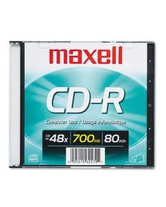 Maxell® Cd-R Disc, 700Mb/80Min, 48X, W/Slim Jewel Case, Silver