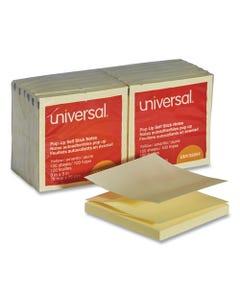 Universal® Fan-Folded Self-Stick Pop-Up Note Pads, 3 X 3, Yellow, 100-Sheet, 12/Pack