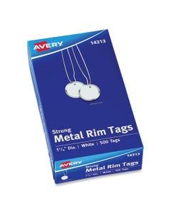 Avery® Heavyweight Stock Metal Rim Tags, 1 1/4 Dia, White, 500/Box
