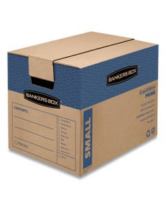 """Bankers Box® Smoothmove Prime Moving & Storage Boxes, Small, Regular Slotted Container (Rsc), 16"""" X 12"""" X 12"""", Brown Kraft/Blue, 10/Carton"""