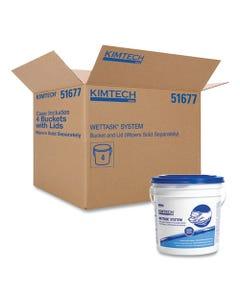 Kimtech WetTask Wiper Bucket, White/Blue, 4/Carton
