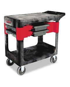 Rubbermaid® Commercial Trades Cart, Two-Shelf, 19.25W X 38D X 33.38H, Black