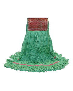 PRESERVATION Brand Rayon/Synthetic Loop-End Mop Head, Green, Medium, 4-Ply