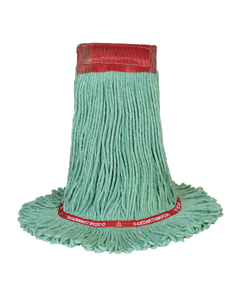 PRESERVATION Brand Rayon/Synthetic Loop-End Mop Head, Green, Large, 4-Ply