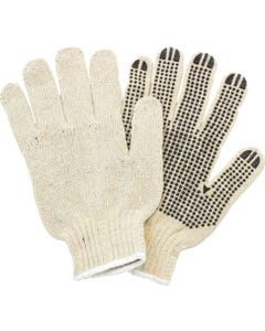 String Knit Dotted Glove, Off-White, Black Dot, Large, 12/BX
