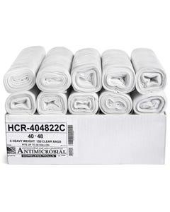 "Aluf Plastics 45 Gallon 22 Micron High Density Star Sealed Clear Coreless Rolls Trash Bags - 40"" x 48"" - Pack of 150"