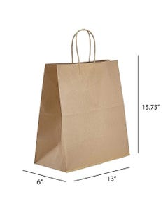 """Kraft Paper Shopping Bag with Twisted Handles, 13""""x6""""x13"""", 250/CS"""