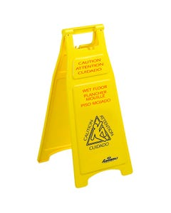 "Wet Floor ""Caution"" Sign, Trilingual, 26"", Yellow, 6/CS"